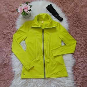 Lole Highlighter Yellow Full Zip Up Sweater Jacket